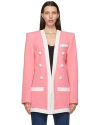 Balmain - ピンク & ホワイト ブレザー - Lyst