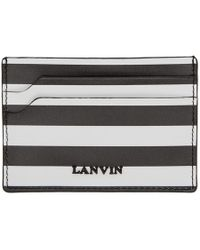 Lanvin Porte-cartes raye noir et blanc