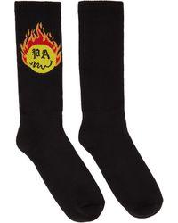 Palm Angels Black Smiley Edition Burning Socks