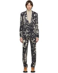 Dries Van Noten Black Wool Tie-dye Suit