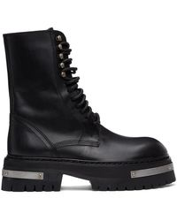 Ann Demeulemeester & Silver Oversized Sole Tucson Lace-up Boots - Black