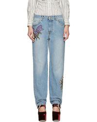 Alexander McQueen - Blue Embroidered Floral Boyfriend Jeans - Lyst