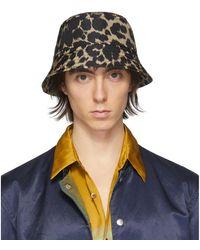 Dries Van Noten ブラック And ベージュ Leopard バケット ハット - ブルー