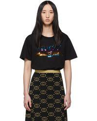 Gucci - Black Sequin Vintage Logo T-shirt - Lyst