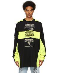 Vetements T-shirt à manches longues de motocross jaune et noir à logo et empiècements - Multicolore