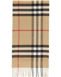 Burberry Beige Cashmere Mega Check Scarf - Natural