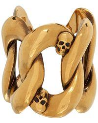 Alexander McQueen - ゴールド Chain And Skull リング - Lyst