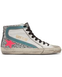 Golden Goose Deluxe Brand White And Silver Slide Glitter High Top Sneakers