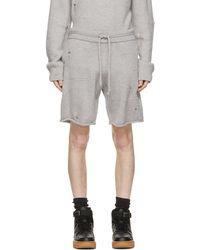 Helmut Lang Short en laine à effet usé gris