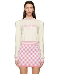 Balmain - ホワイト クロップド セーター - Lyst