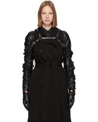 Noir Kei Ninomiya Gants en cuir synthetique noirs Harness