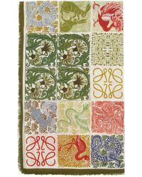 Loewe William De Morgan コレクション マルチカラー モダール Animal Anagram スカーフ