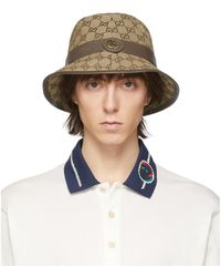 Gucci Beige And Brown GG Supreme Bucket Hat - Natural