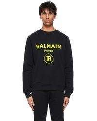 Balmain - ブラック ロゴ スウェットシャツ - Lyst