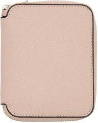 Valextra - Pink 6cc Zip Around Wallet - Lyst