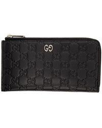 Gucci - Black GG Print Signature Zip Wallet - Lyst