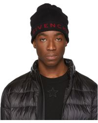 Givenchy - Black And Red Logo Beanie - Lyst