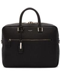 Saint Laurent - Black Leather Briefcase - Lyst