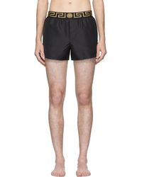 Versace Black Greek Key Swim Shorts