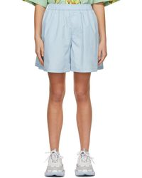 we11done - Blue Logo Patch Shorts - Lyst