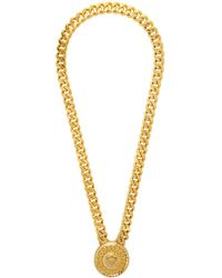 Versace Gold Crystal Medusa Necklace - Metallic