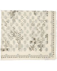 Alexander McQueen White And Grey Studded Skull Scarf - Natural