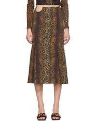 Versace ブラウン パイソン プリント スカート