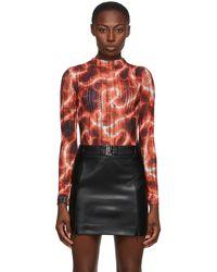 MISBHV Orange Barb Wire Net Bodysuit - Multicolour