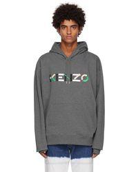 KENZO グレー オーバーサイズ ロゴ フーディ