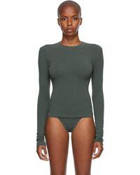 Skims Cotton 2.0 コレクション グレー ロング スリーブ T シャツ