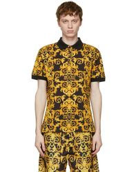 Versace Jeans Couture Black Allover Barocco Polo - Yellow