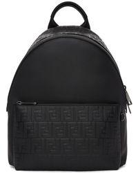 Fendi - Black Embossed Forever Backpack - Lyst