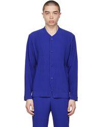 Homme Plissé Issey Miyake Blue Tailored Pleats 2 Cardigan