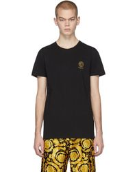 Versace Logo Cotton T-shirt - Black