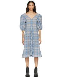 Ganni - ブルー チェック ドレス - Lyst