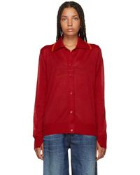 MM6 by Maison Martin Margiela - Red Long Sleeve Polo - Lyst