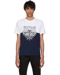KENZO 限定エディション ホワイト And ネイビー カラーブロック タイガー T シャツ - ブルー