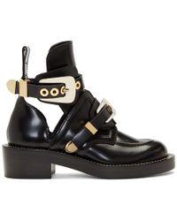 Balenciaga - Black Leather Buckle Boots - Lyst