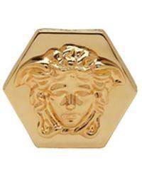 Versace - Gold Hexagonal Medusa And Greek Key Ring - Lyst
