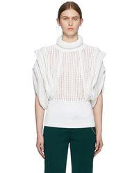 Givenchy ホワイト パーフォレーション ノースリーブ タートルネック