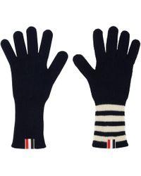 Thom Browne Navy 4-bar Rib Gloves - Blue