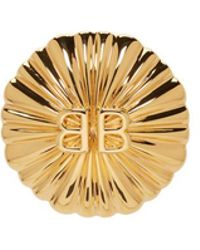 Balenciaga Gold Round Bb Clip-on Earcuff - Metallic