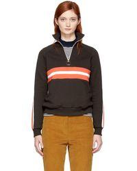 Harmony Brown Striped Sidonie Zip Sweater