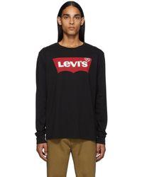 Levi's ブラック クラシック ロング スリーブ T シャツ