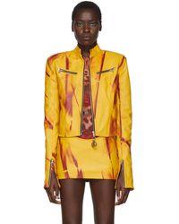 Mowalola Ssense Exclusive Yellow Leather Kumbi Jacket