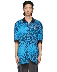 we11done Blue Leopard All Over Polo