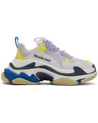 Balenciaga - Baskets blanches et mauves Triple S - Lyst