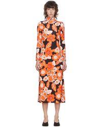 ROKH ブラック & オレンジ フローラル ドレス