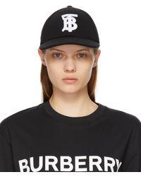 Burberry - ブラック モノグラム ベースボール キャップ - Lyst