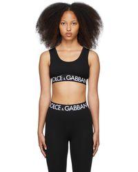 Dolce & Gabbana ブラック ロゴ スポーツ ブラ